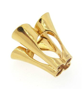 thumbnail image of Unique Italian Modernist Diamond Gold Cocktail Ring