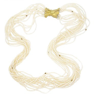 thumbnail image of Pedro Boregaard Pearl 18k Gold Multistrand Necklace