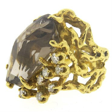image of Arthur King Smokey Topaz Diamond 18k Gold Free Form Ring