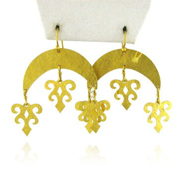 image of New Gurhan Afghan Crescent 24k Gold Drop Earrings
