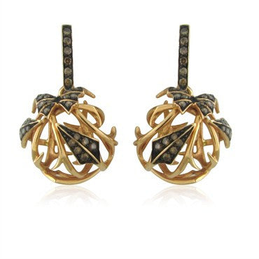 image of Stephen Websted Wild Rose Thorn 18K Rose Gold Diamond Drop Earrings