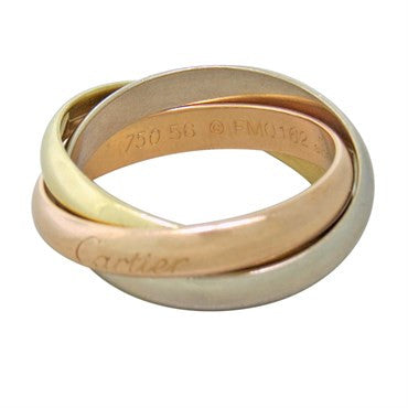 Cartier Trinity 18k Tri Color Gold Rolling Band Ring Size 56