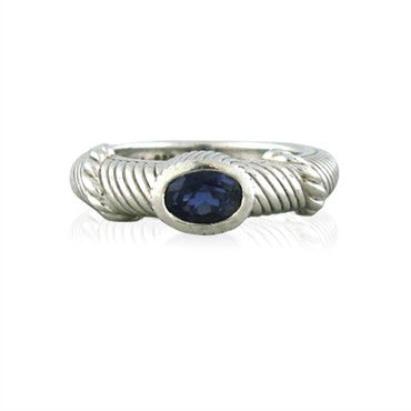 image of Estate Judith Ripka Sterling Silver Iolite Ring