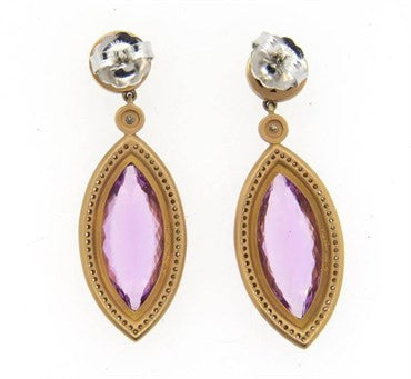 thumbnail image of Impressive Sam Lehr Kunzite 1.20ctw Diamond 18k Gold Drop Earrings