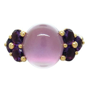image of New Pomellato Luna 18k Gold Rose Pink Quartz Amethyst Ring