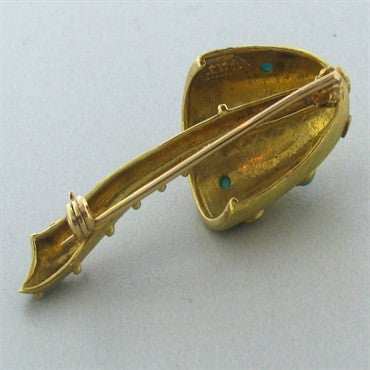 thumbnail image of Tiffany & Co 18k Gold Turquoise Mushroom Brooch Pin