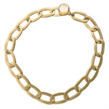 image of New Pomellato Narciso Rock Crystal 18k Gold Link Necklace