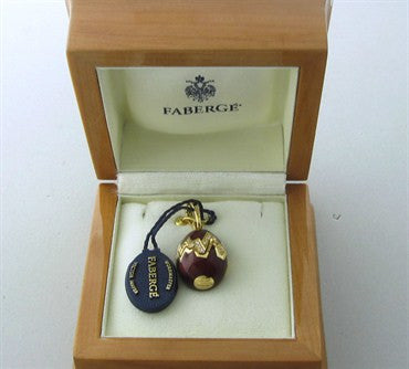 thumbnail image of Faberge 18K Gold Diamond Burgundy Elephant Egg Charm Locket Pendant
