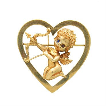 image of Ruser 14K Gold Sapphire Cupid Heart Brooch