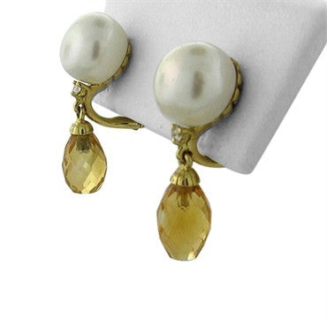 thumbnail image of New Trianon 18K Yellow Gold Pearl Diamond Citrine Drop Earrings