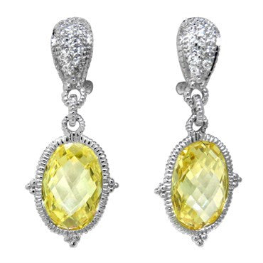 image of Judith Ripka Sterling Silver Canary Crystal CZ Drop Earrings