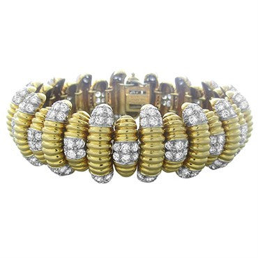 image of David Webb 18k Gold Platinum 15.50ctw Diamond Bracelet 129.7g