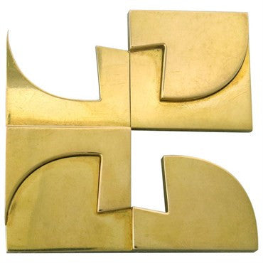 image of 1970s Hans Richter Modernist 18K Gold Brooch Pendant