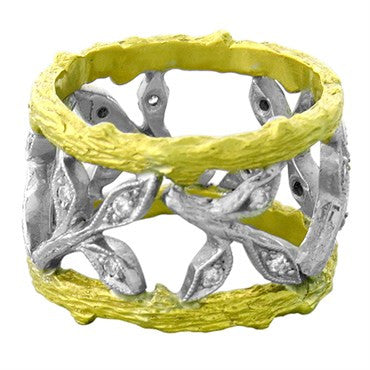image of Cathy Waterman 22k Gold Platinum Diamond Wide Leaf Band Ring