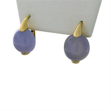 thumbnail image of New Pomellato Luna 18k Gold Chalcedony Earrings