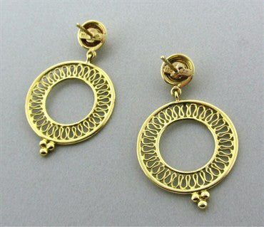 thumbnail image of Temple St. Clair 18K Gold Diamond Circle Drop Earrings