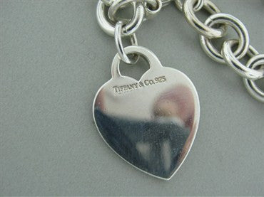 thumbnail image of Estate Tiffany & Co Sterling Silver Heart Charm Bracelet