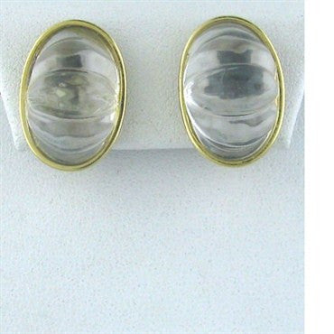 image of Estate Tambetti 18k Yellow Gold Crystal Earrings
