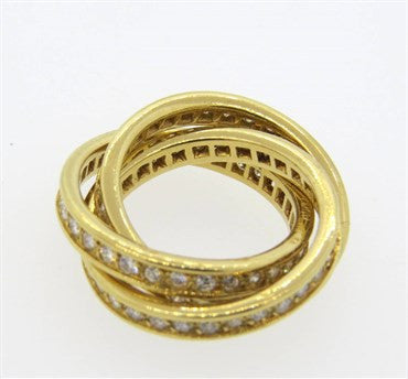 Cartier Trinity Diamond Gold Rolling Band RIng