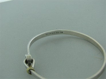 image of Estate Tiffany & Co Sterling Silver 18k Yellow Gold Bangle Bracelet