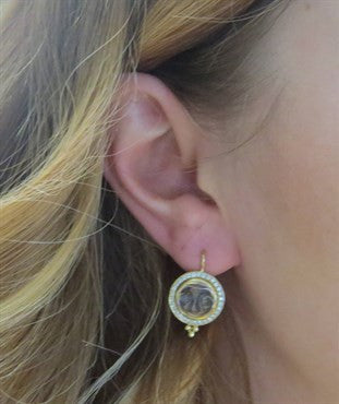 thumbnail image of New Temple St. Clair Carved Crystal Diamond 18k Gold Moonface Earrings