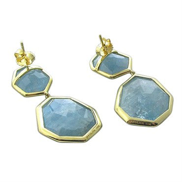 thumbnail image of New Ippolita 18K Gold Diamond Milky Aquamarine Rock Candy Earrings