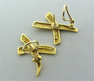 thumbnail image of 1983 Vintage Tiffany & Co Paloma Picasso 18K Yellow Gold X Earrings