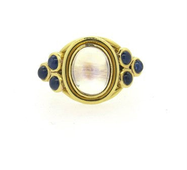 image of Temple St. Clair Paolo Moonstone Sapphire Gold Ring