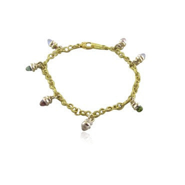 image of Judith Ripka 18k Gold Diamond Gemstone Charm Bracelet