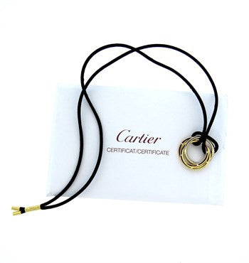 image of Cartier Trinity Diamond Gold Pendant Necklace