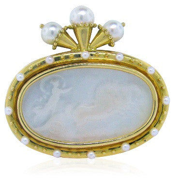 image of Elizabeth Locke 18k Gold Venetian Glass Pearl Brooch