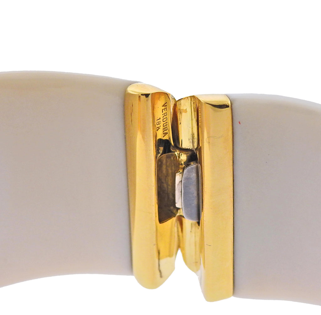 thumbnail image of Verdura White Agate Diamond Gold Cuff Bracelet