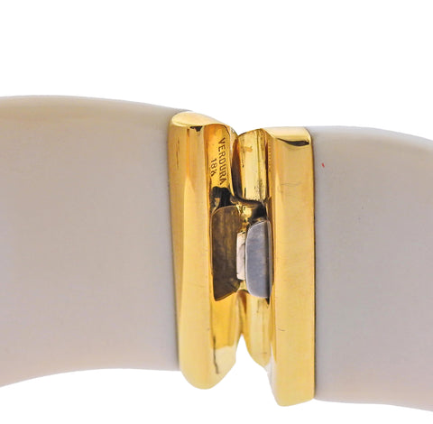 image of Verdura White Agate Diamond Gold Cuff Bracelet