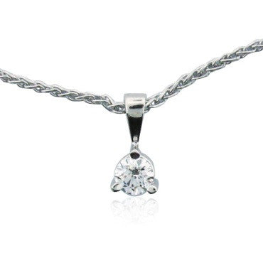 image of Hearts On Fire Three Prong Solitaire Pendant Necklace