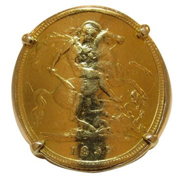 image of Fred Paris 18K Gold 1897 British Sovereign Coin Ring