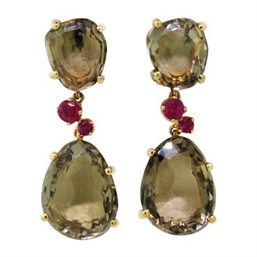 image of Pomellato Bahia Smokey Quartz Ruby Gold Earrings