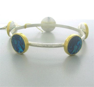 thumbnail image of New Gurhan Sterling Silver 24K Gold Paua Shell Surf Bangle Bracelet
