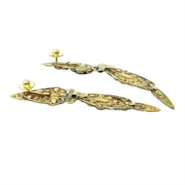 thumbnail image of Antique Iberian Emerald 14K Gold Drop Earrings