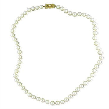 thumbnail image of Estate Mikimoto 18K Gold 6.5mm 6.7mm Pearl Necklace