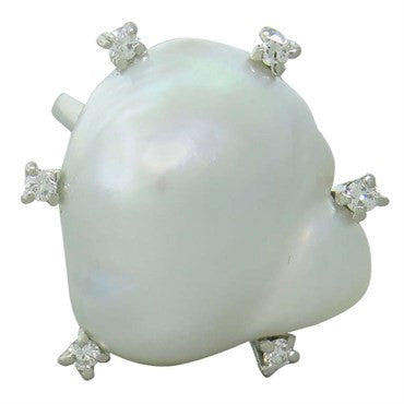 thumbnail image of Antique South Sea Baroque Pearl Diamond Platinum Ring