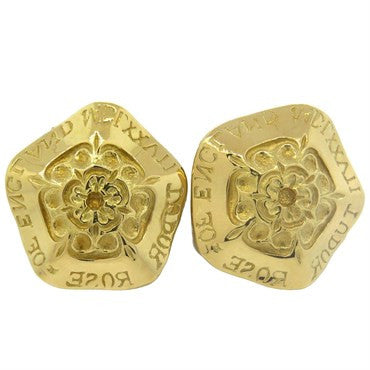 image of Large Elizabeth Gage 18k Gold Flower Motif Earrings