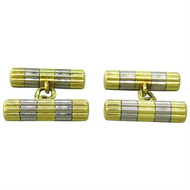 image of Tiffany & Co. White and Yellow 18K Gold Cufflinks