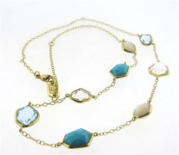 image of Ippolita Rock Candy 18k Gold Mother of Pearl Turquoise Quartz Necklace