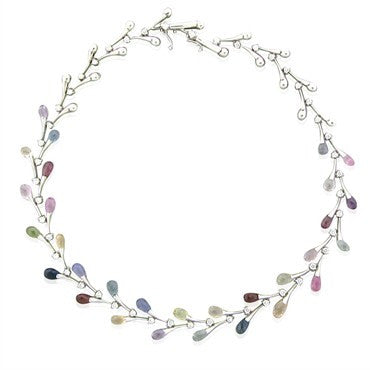 image of Stefan Hafner 18K White Gold 1.80ctw Diamond Sapphire Necklace