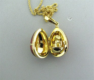 image of Estate Faberge 18K Gold Red Enamel Diamond Egg Locket Pendant Necklace