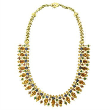 image of Buccellati Gold Citrine Emerald Iolite Ruby Necklace