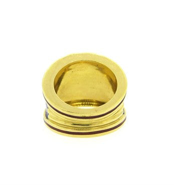 image of Wide 18k Gold Cigar Enamel Band Ring