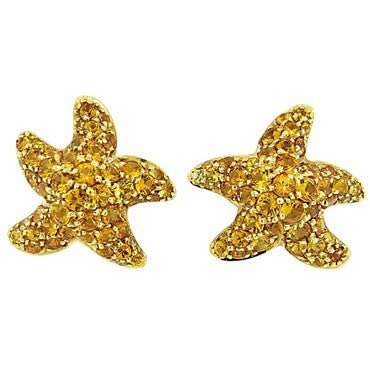 image of Chantecler Yellow Sapphire Gold Starfish Earrings