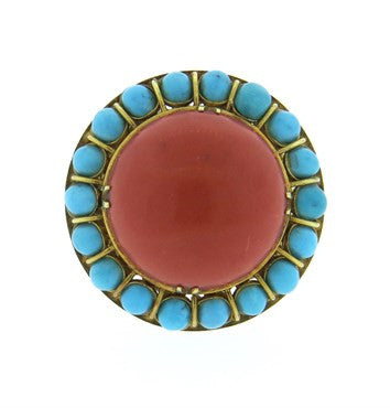 thumbnail image of Turquoise Coral 14k Gold Dome Ring