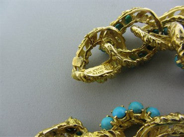 thumbnail image of Vintage Spitzer And Furman 18K Yellow Gold Link Turquoise Bracelet 80g